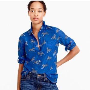 J. Crew Cotton Silk Voile Zebra Popover Shirt 12